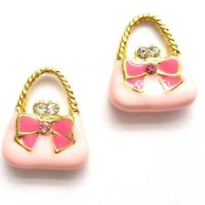 4 Enamel 15mm Pink Handbags With Rhinestone Jewellery Making