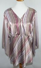 VTG Lane Bryant Striped Flowy Purple Blouse Top Work Womens 18/20 Made in USA