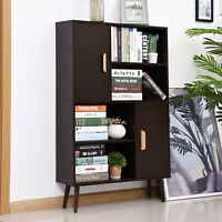 HOMCOM Free Standing Bookcase Shelves Unit Storage Cabinet w/ Two Doors Walnut