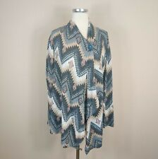 Bobeau Womens 2X Aztec Print Cardigan Sweater One Button Draped
