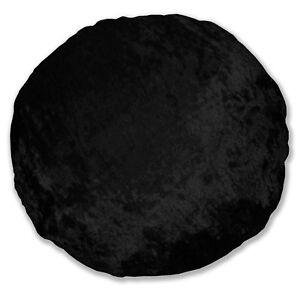 mv36n Black Shimmer Diamond Crushed Velvet Style Round Shape Cushion Cove31