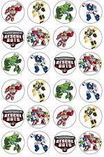 24 x RESCUE BOTS TRANSFORMERS Cupcake Toppers EDIBLE CAKE Wafer Rice Paper