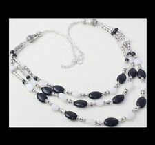 NEW - TRIPLE ROW BLACK ONYX & MOONSTONE ANTIQUE SILVER NECKLACE