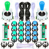 Arcade Controllers DIY MAME Kit 2 Ellipse Oval Joystick + 20 LED Chrome Buttons