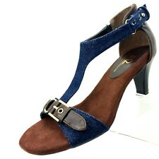A2 Lollipowp Sandals Size 6 Buckle T Ankle Strap Blue Brown Cone Heel Womens