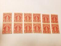 United States Postage Due 1/2 Cent Stamps Lot Of 12 Stamps VF NH OG