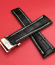 BREITLING 22MM MENS WATCH STRAP BLACK  + DEPLOYMENT BUCKLE CLASP GENUINE LEATHER