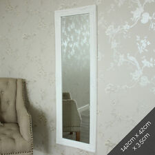 Tall ornate white mirror shabby French chic bedroom living room wall floor home