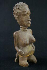 "Art Africain - Ancien ""Colon"" Agni Anyi Femme Assise Statuette Bois - 19 Cms +++"
