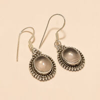 Natural Brazilian Rose Quartz Earrings 925 Sterling Silver Dangle Drop Jewelry