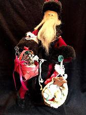 """Santa Christmas figure, standing, beard, maroon velvet coat, gift bags,13"""" tall"""