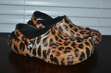 Crocs Classic Lined Animal Clogs * Leopard/Black Plush Lining Women's 9 NEW