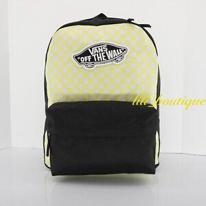 NWT Vans Realm Backpack School Laptop Bag VN0A3UI6VD7 Lemon Tonic Checkerboard