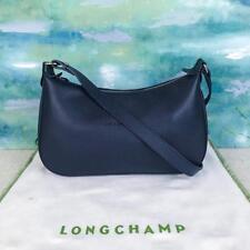 $295 LONGCHAMP Veau La Foulonne Blue Leather Embossed Logo Crossbody Bag SALE!