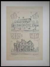 MAISONS A HAMPSTEAD ET BRIGHTON - 1890 - GRANDE LITHOGRAPHIE - BRIGGS, JAY