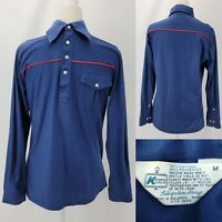 Vintage 70s Kmart Mens Medium Dark Blue Red Stripe Butterfly Collar Disco Shirt