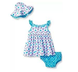 GerberGirls 3-Piece Blue/Purple Flower Dress Cap & Panties Set BABY CLOTHES GIFT