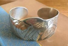 Large Haida Eagle Salmon Sterling Silver Cuff Bracelet By Jim McGuire, Unisex