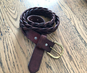 Vtge Full grain cowhide LEATHER BELT S 38 Red Brown braided solid brass buckle