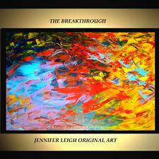 "ORIGINAL LARGE ABSTRACT MODERN ART PAINTING Blue Red Orange Yellow 36x24"" JLEIGH"