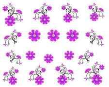 Nail art stickers décalcomanie bijoux d'ongles: paquerettes roses violettes