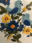 Vintage Crewel Birds & Flowers Bluebird Embroidered Picture Floral Yarn Art 70s