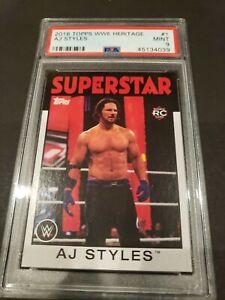 2016 Topps WWE Heritage #1- A.J. Styles Rookie Card! PSA MINT 9!