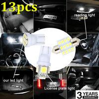 13pcs/set Car White LED Lights Kit for Stock Interior&Dome&License Plate Lamps