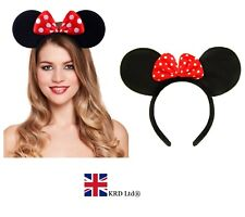 MINNIE MOUSE EARS HEADBAND Fancy Dress Disney Spotted Bow Ladies Kids Girls UK
