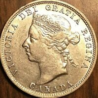 1900 CANADA VICTORIA SILVER 25 CENTS COIN - Excellent example!