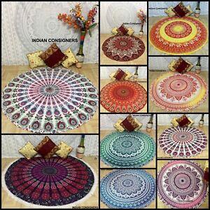 Indian Roundies Hippie Tapestry Round Beach Yoga Mat Picnic Throw Cotton Towel