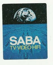 ADESIVO LABEL STICKER SABA TV VIDEO HIFI