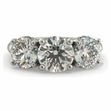 Certified 3.50 Ct Round White Moissanite 3 Stone Engagement Ring 14K White Gold