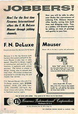 1956 ADVERT 2 PG FN Deluxe Mauser Rifle Astra Cub Pistol 22 .25 Automatic Chrome