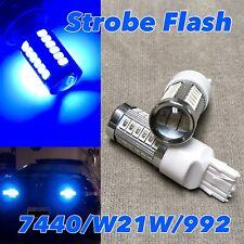 STROBE FLASH Reverse Backup T20 7440 7441 992 W21W 33 LED BLUE Bulb W1 JAE