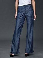 Gap Women's Dark Chambray Sailor Wide Leg Pants Size 00 Regular