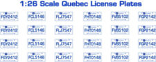 QUEBEC CANADA LICENSE PLATE DECALS FOR 1:43 SCALE CARS