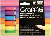 Marvy Uchida Graffiti Tip Fabric Permanent Markers 6 Fluorescent Colors Odorless