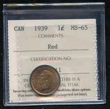 1939 Canada 1 Cent Coin ICCS Graded MS65 # LE 611