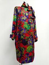 "Vintage Celine 90's dress vibrant red, purple, green & neck tie 46""B L UK18/20"