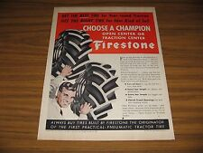 1951 Print Ad Firestone Pneumatic Tractor Tires Open or Traction Center