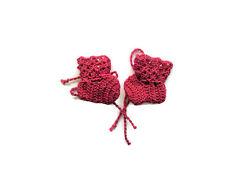 """Baby Booties Baby Shoes Crochet Booties Newborn Shoes 2 """" red OOAK"""