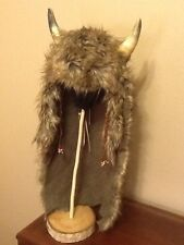 Native American Real Horn Buffalo Dancer Headdress long brown