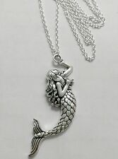 "A Cute Mermaid (32x75mm) Tibetan Silver Charm Pendant, Long 30"" Chain Necklace"