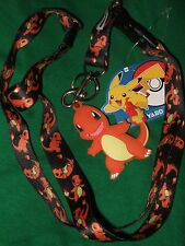 Pokemon Charmander Lanyard Keychain Detachable & Rubber Charm Anime Nintendo Go