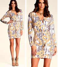 NWT Bebe white gold floral long sleeve belt trim top dress L large 8 10 print