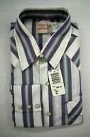 Vintage NOS Saddle King Western Mens Striped Long Sleeve Pearl Snap Shirt New