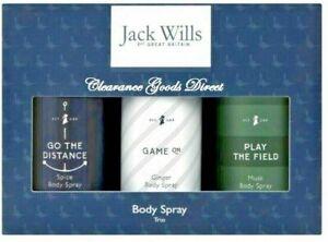 Jack Wills Mens Body Spray Trio Gift Set