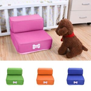 Pet Stairs For Tall Bed Dog Cat Training Steps Safe Foam Ramp Washable Cover