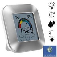 Digital Thermometer Hygrometer Humidity Meter Room Indoor Temperature Clock UK